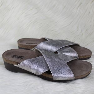 Munro Gia Silver Camo Slides Sandals Footbed 8.5